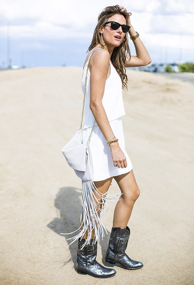 White Tee Outfit Idea with Golden Accessories