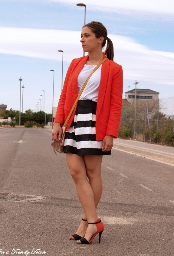 White Tee Outfit with Stripe Skirt