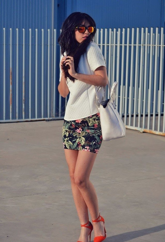 White Tee Outfit with Floral Skirt