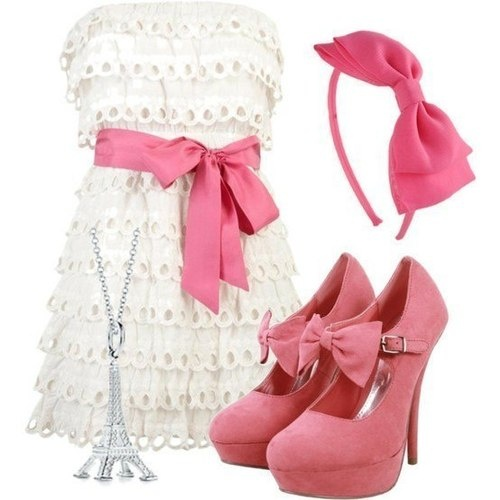 White and Pink Outfit with a Bow