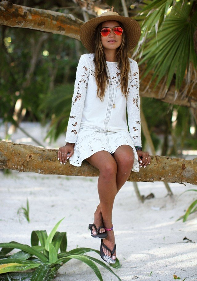 White Dress Outfit Idea with Hat