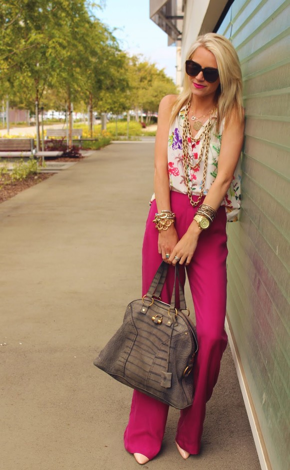 Grape-hued Palazzo Pants
