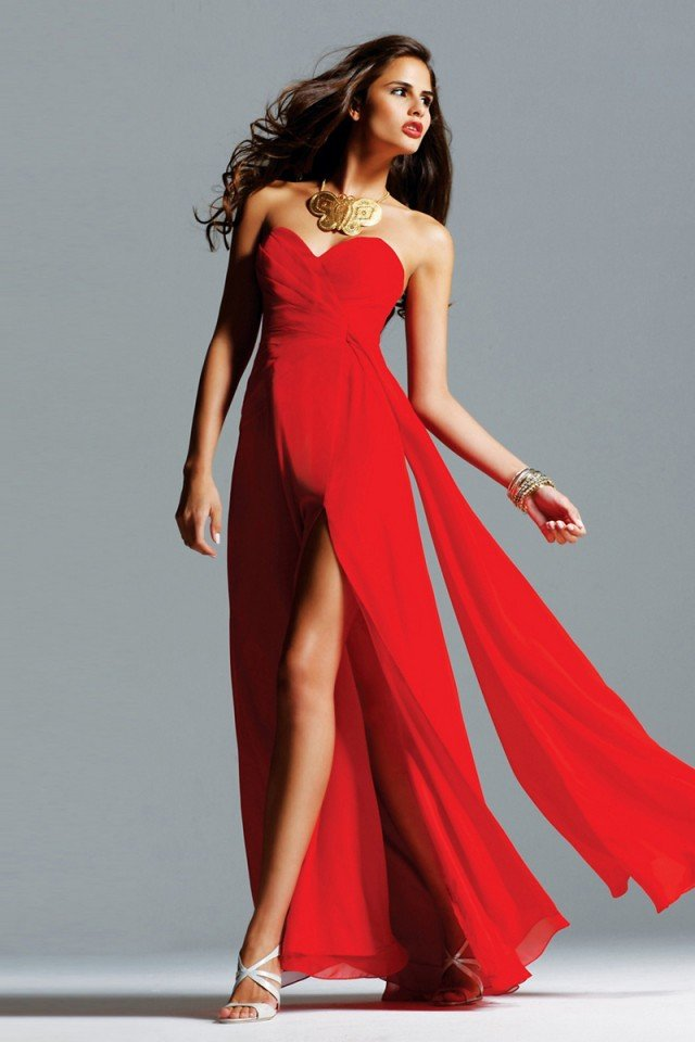 Wonderful Floor-Length Chiffon-Slit Evening Dress