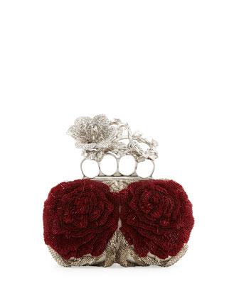 Alexander McQueen Beaded Flower Knuckle Box Clutch Bag