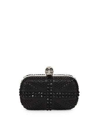 Alexander McQueen Britannia Skull-Clasp Studded Clutch Bag
