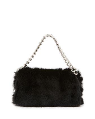 Alexander McQueen Folded Fur Clutch Bag
