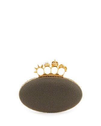 Alexander McQueen Studded Oval Knuckle Clutch Bag