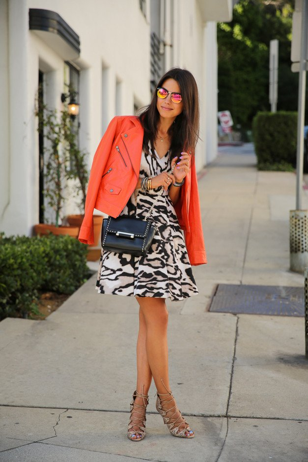 Animal Printed Dress with Orange Jacket