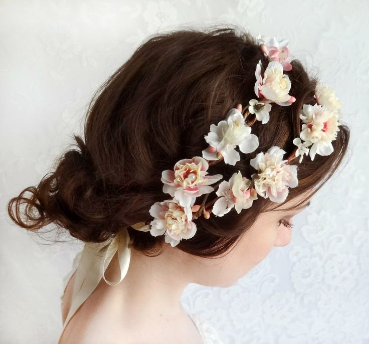 Baby Pink Flowers for a Wedding Hairstyle