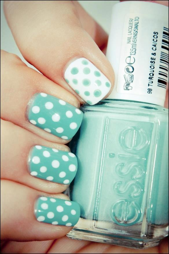 Babyblue Dotted Nail Design