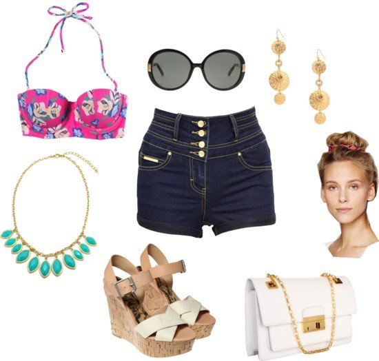 Beach Outfit Idea with High Waisted Shorts