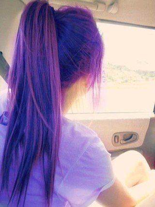 Beautiful High Ponytail for Purple Hair