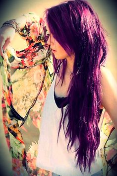 Beautiful Purple Layered Haircut for Long Hair