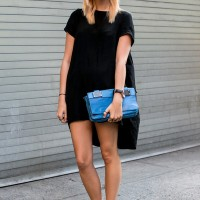 Black Dress and Blue Clutch/ ImaxTree
