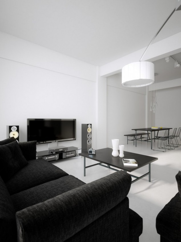 Black Furniture and White floor