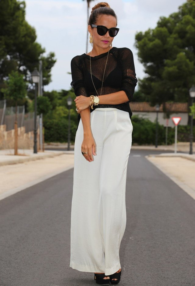 Black Sheer Top and White Jeans