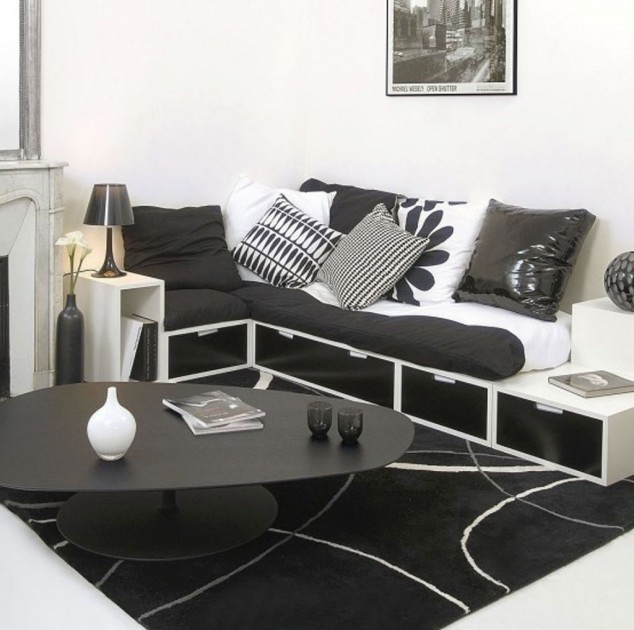 Black and White Idea in Living Room Decoration