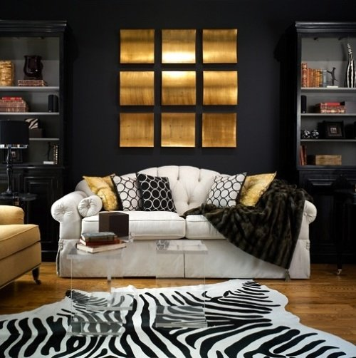 Black and White Living Room with Golden Details