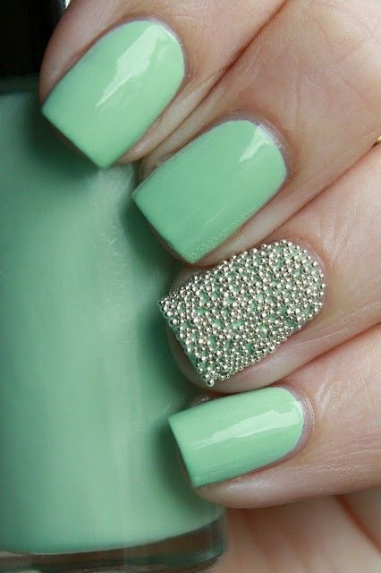 Blue Embellished Nail Design Idea