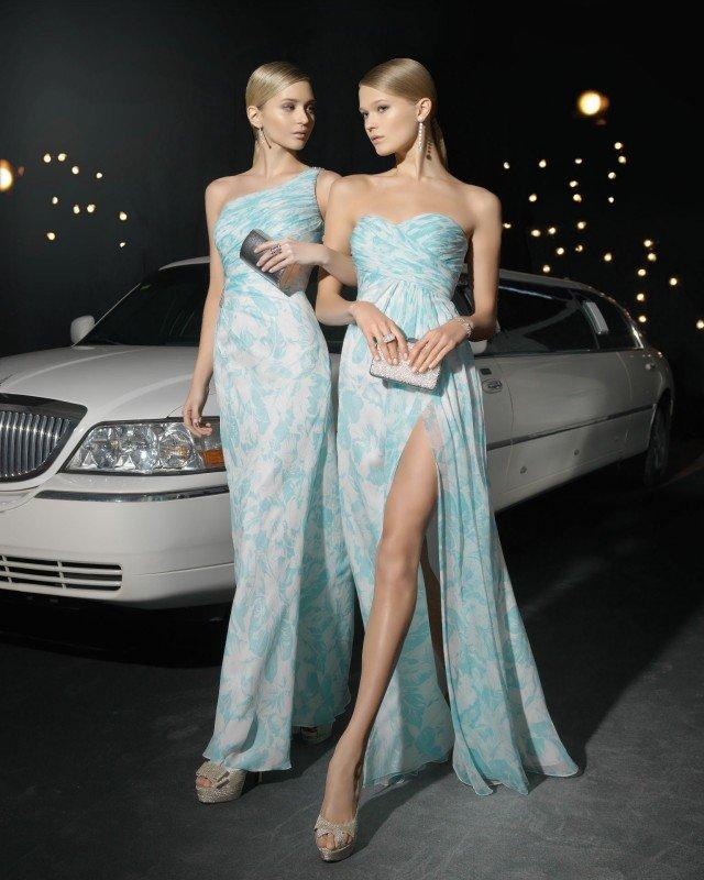 Blue Floral Printed Long Dresses