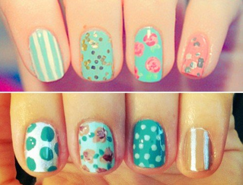 Blue Mismatched Nail Designs