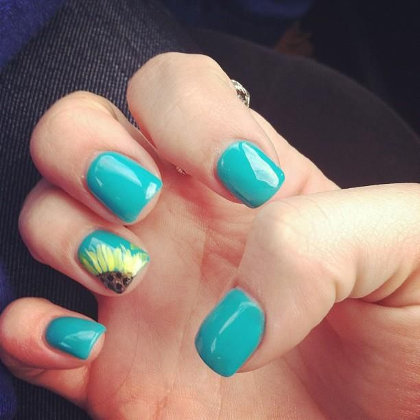 Blue Nails - 15 Sunflower Nail Designs For The Season - Pretty Designs