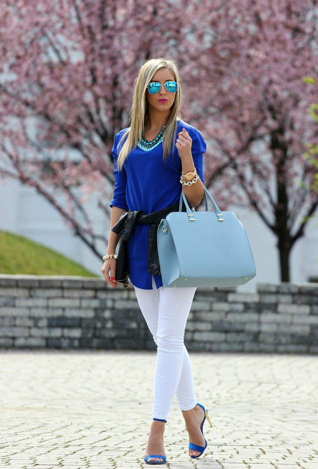 Blue Outfit Idea with Ankle Strap Shoes