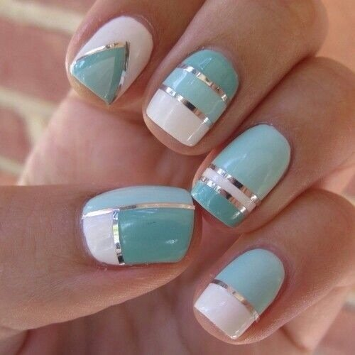 Blue Patterned Nail Design Idea
