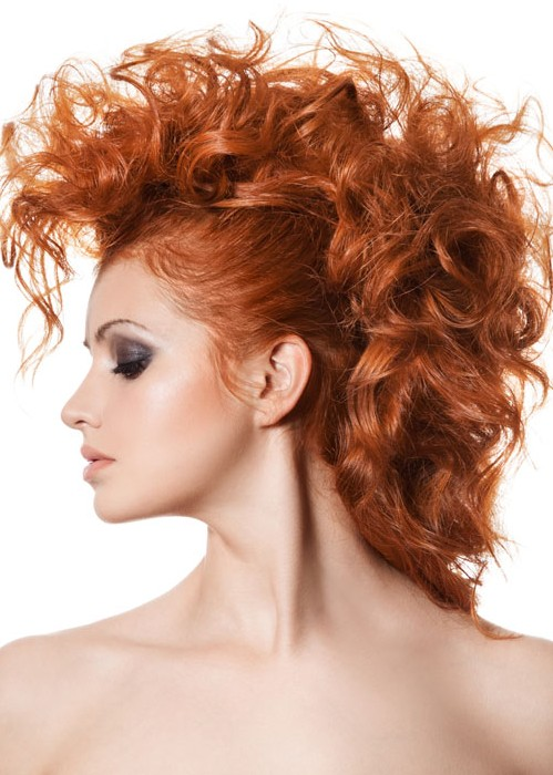 curly hairstyles faux hawk copper hairstyle punk rock curls coif clip banana fauxhawk updos penteados cabelos longos mohawk largo cheveux