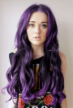 Center-parted Long Curls for Purple Hair
