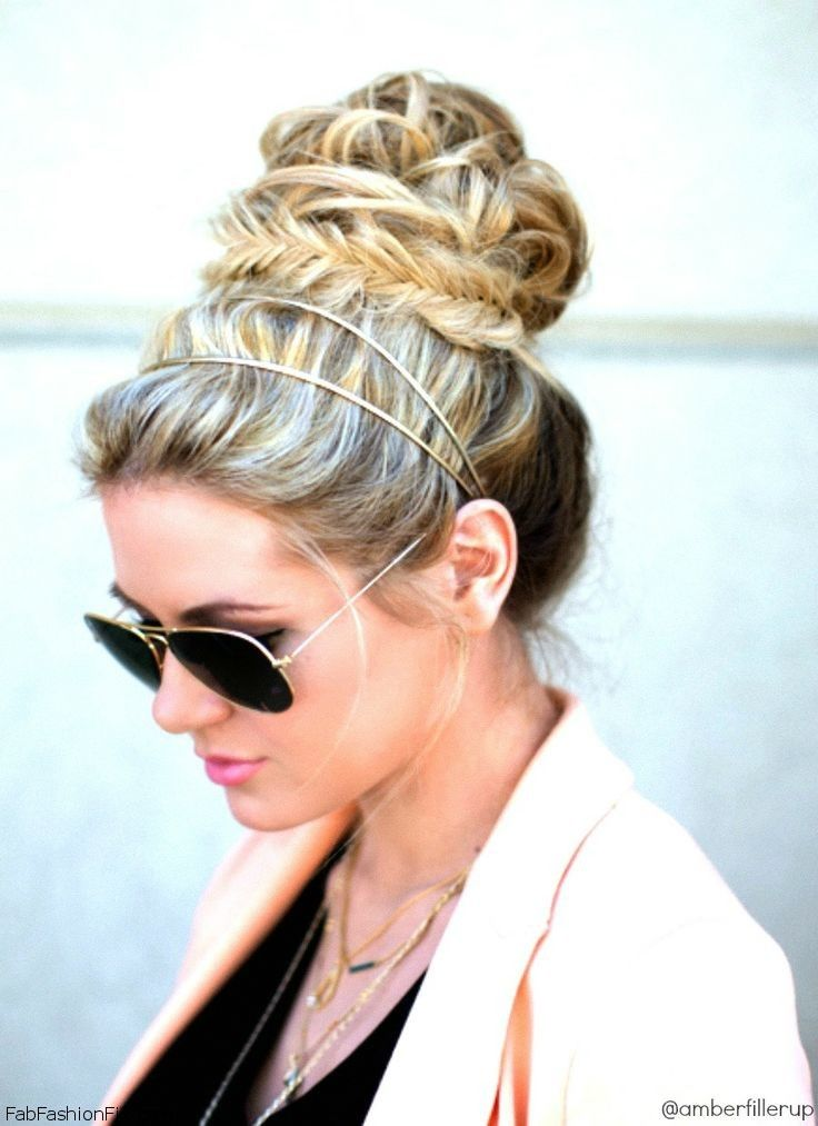 20 gorgeous headband hairstyles you love pretty designs chic updo hairstyle with headband pmusecretfo Gallery