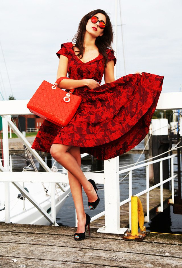 Classy Red Dress with Floral Prints