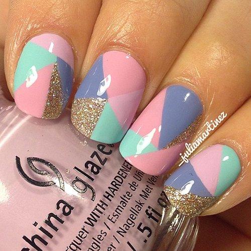 Pastel Color Block Nail Design