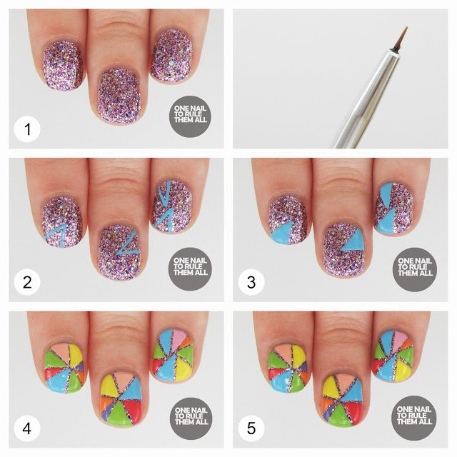 Colorful Patterned Nail Design