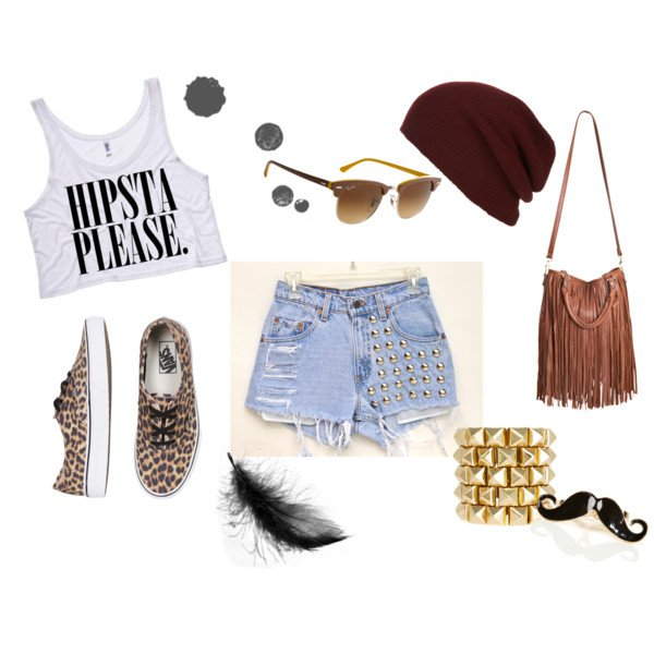 Cool Polyvore Combination Idea with High Waisted Shorts