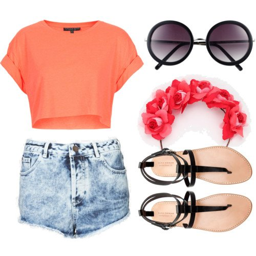 Coral Outfit Idea with Denim Shorts