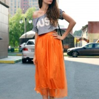 Crop Top Outfit Idea with Orange Long Skirt