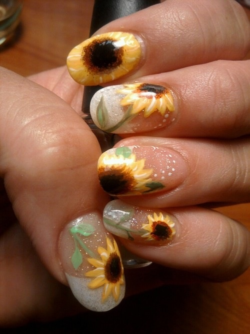 Crystal Nails - 15 Sunflower Nail Designs For The Season - Pretty Designs
