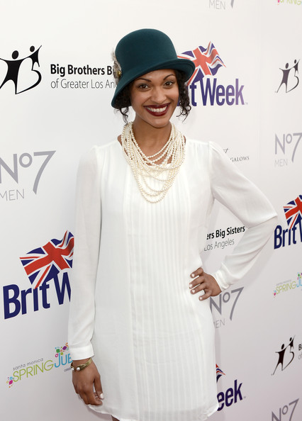 Cynthia Addai-Robinson White Outfit with Pearl Necklace