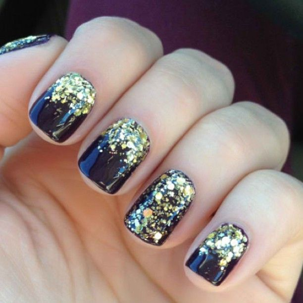 Dark Color Nails with Glitter