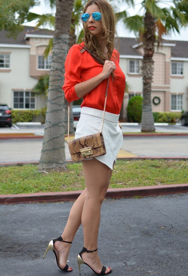 Dark Orange Blouse and White Skorts