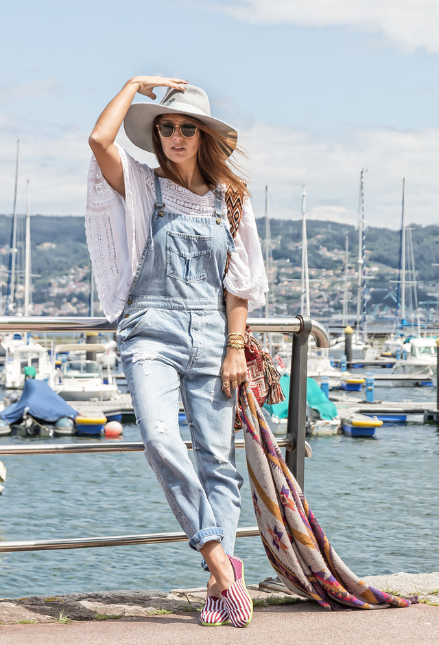 Denim Jumpsuit with a Hat