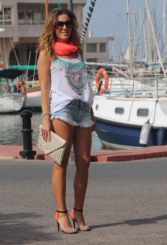 Denim Shorts Outfit Idea with Bright Scarf