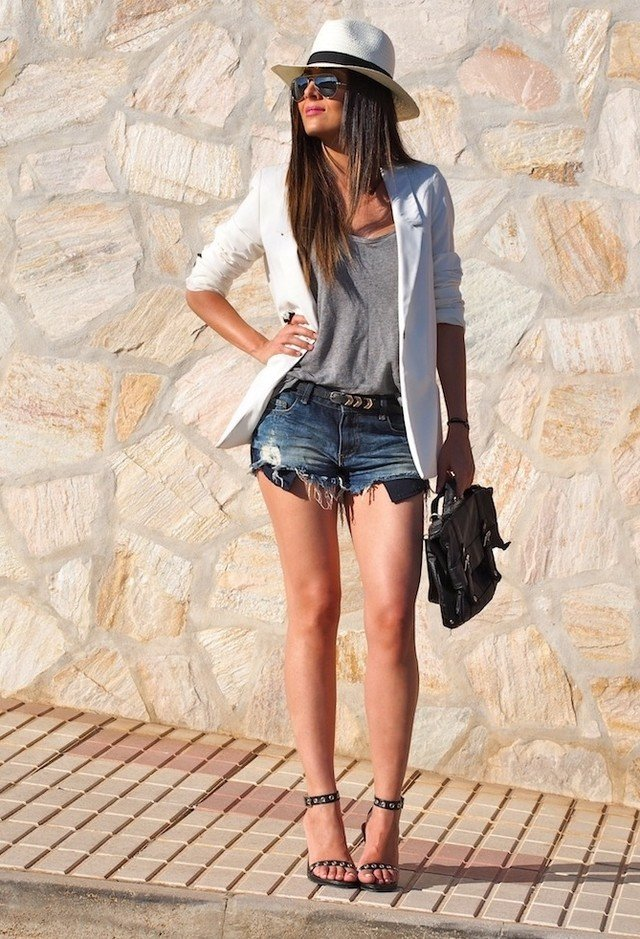 Denim Shorts Outfit with Ankle Strap Shoes