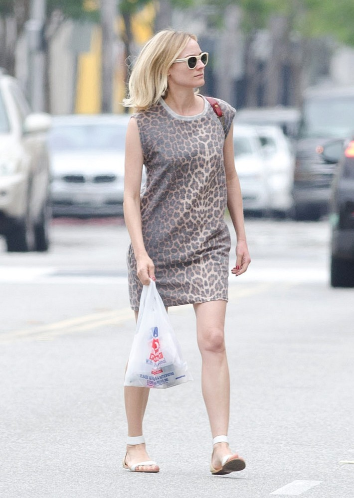 Diane Kruger Animal Printed Dress