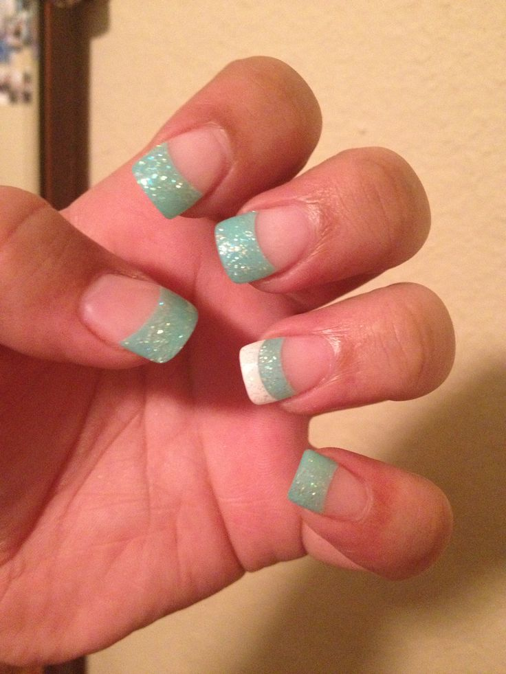 Easy Teal Nails via - 15 Teal Nail Designs - Pretty Designs