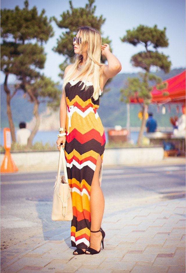 Edgy Printed Long Dress for Summer