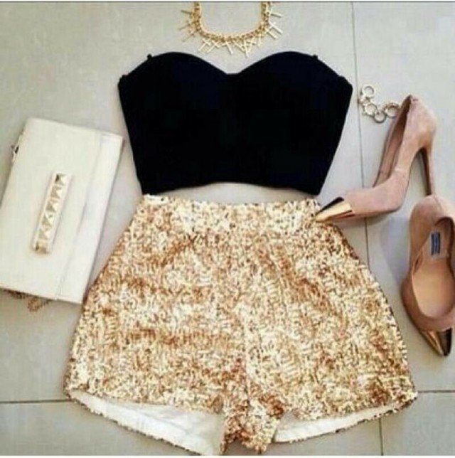 Elegant Outfit Idea with Sequined Shorts