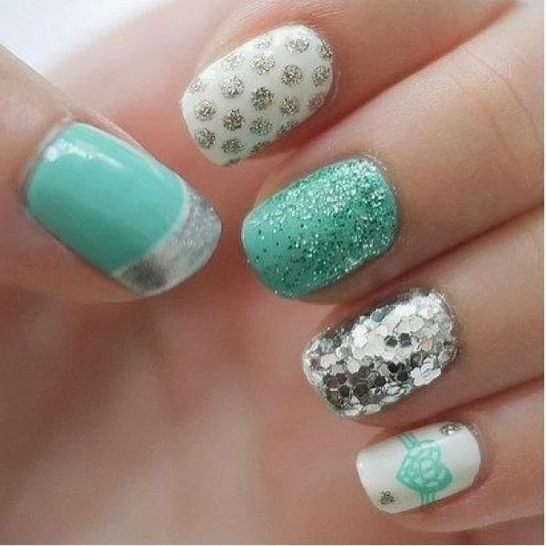 Embellished Mismatched Nail Designs