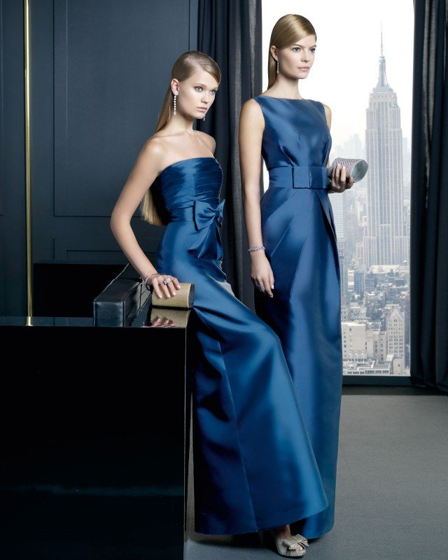 Faddish Dark Blue Evening Dress